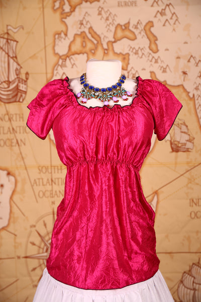 Emma Blouse in Fuchsia Crushed Taffeta
