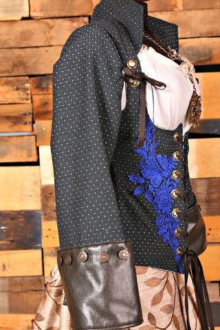 Midnight Blue Dot Buccaneer Sleeves with Faux Leather Cuffs