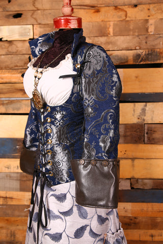 Navy and Silver Medallion Buccaneer Sleeves with Faux Leather Cuffs