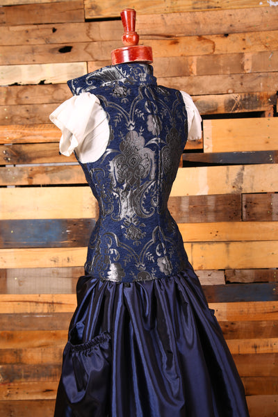 Navy and Silver Medallion Vixen Corset