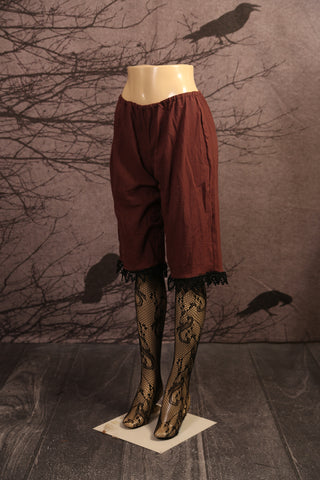 Brown Cotton Gauze Lace Trim Bloomers