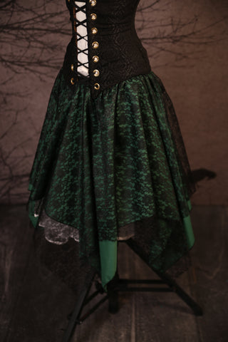 Black Lace & Witch Green Long Layered Fairy Skirt