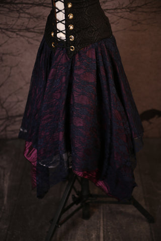 Black Lace & Crushed Plum Long Layered Fairy Skirt