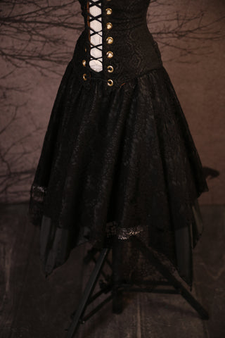 Black Lace & Black Long Layered Fairy Skirt