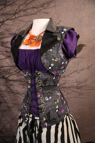 Torian Corset in Fun Nightmare Before Christmas with Grey Stripes Back - RB2