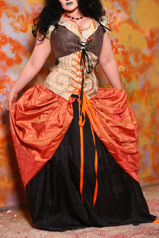 Split Front Overskirt in Pumpkin Orange Pintuck