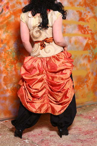 Tie-On Bustle in Pumpkin Orange Pintuck