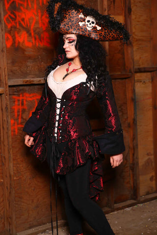 Peplum Ruffle Courtier in Black and Crimson Medallion