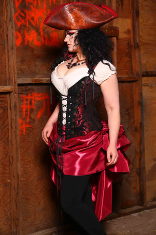 Wanderlust Corset in Crimson and Black Medallion