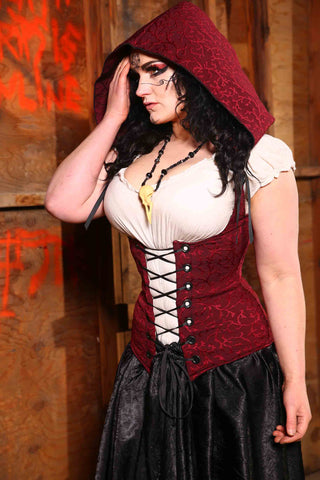 "Hooded Vixen Corset in ""Currant Affairs"""