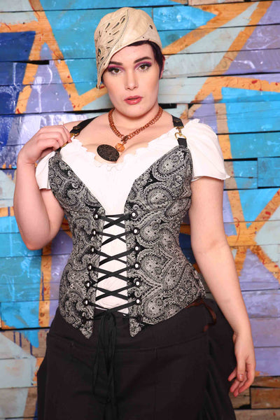 Crossfire Corset in Black and White Paisley