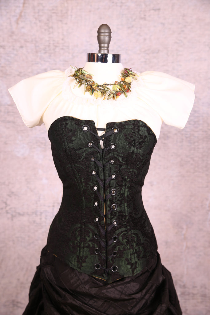 f97028739e2f Aurora Corset-Green   Black Medallion with Black Grommets – Damsel in this Dress  Corsets