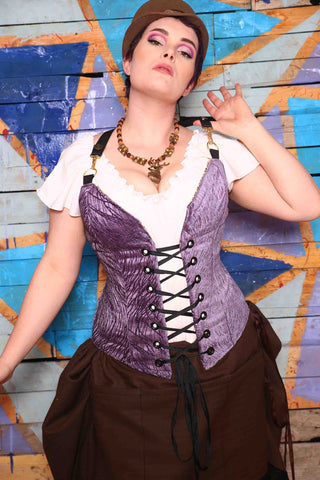 Crossfire Corset in Lilac Tendrils