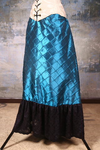 Carousel Skirt Teal Pintuck with Black Stretch Lace
