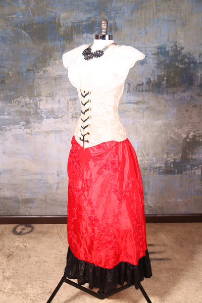 Carousel Skirt Scarlet Ribbon with Black Stretch Trim