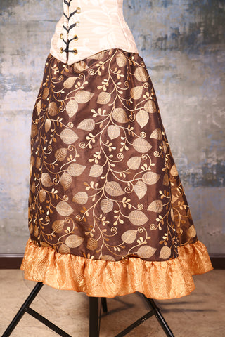 Carousel Skirt Brown Embroidered Vine with Crushed Gold Taffeta