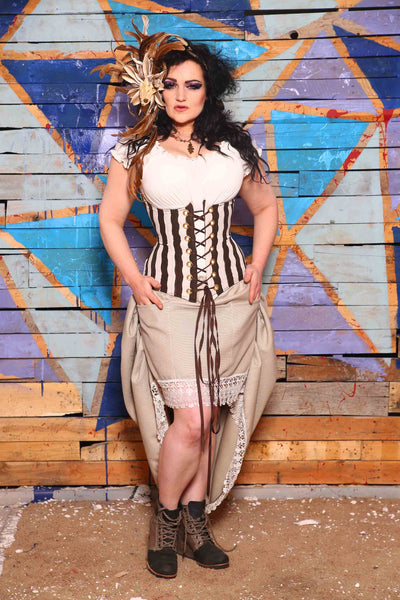 Torian Corset in Chocolate Cadbury Egg Stripe