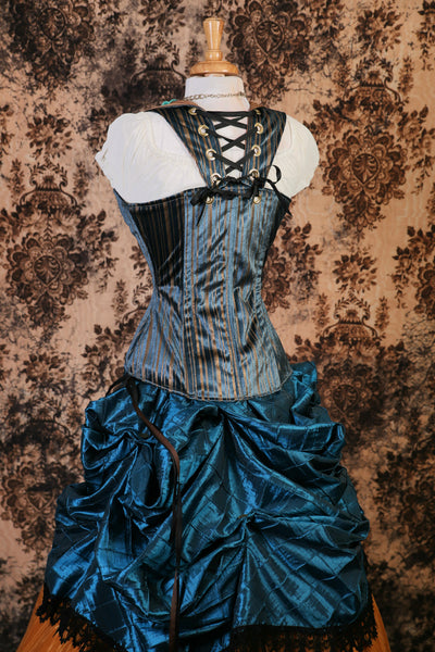 Blue and Gold Stripe Over Archer Corset