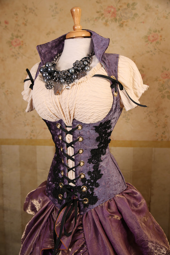Lavender Brush Strokes - Lace Applique Vixen Corset