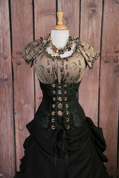 Green and Black Medallion Wench Corset