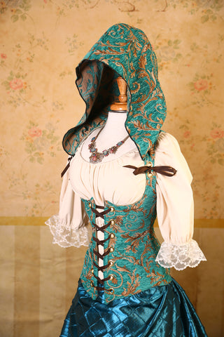Teal Gold Vine Hooded Vixen Corset