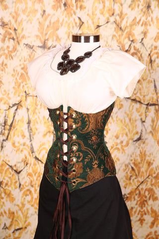 Wench Corset Emerald & Gold Medallion