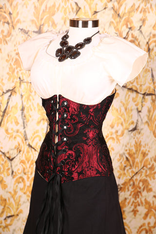 Wench Corset Red & Black Medallion with Black Grommets