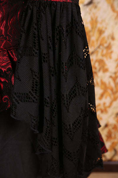 Detachable Flounce Sleeves Red & Black Medallion