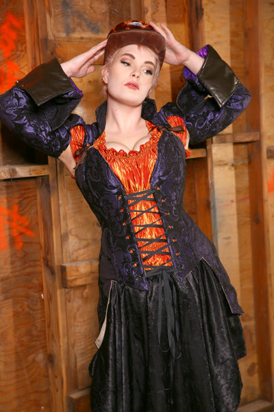 Ruffle Celebration Blouse in Phoenix Fire Crushed Taffeta