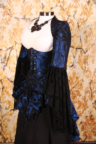 Detachable Flounce Sleeves Blue & Black Medallion