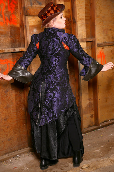 Purple and Black Overbust Pirate Courtier with Knee Length Tails