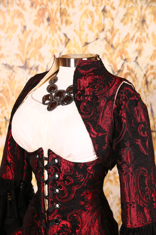 Cropped Vest Red & Black Medallion