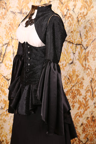 Detachable Flounce Sleeves Solid Black Texture