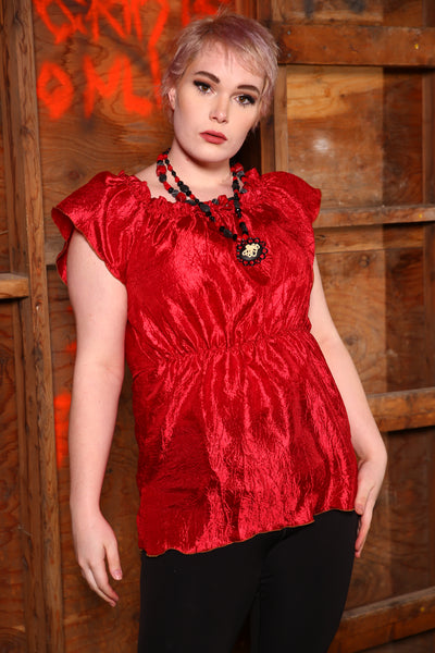 Ruffle Celebration Blouse in Lipstick Red