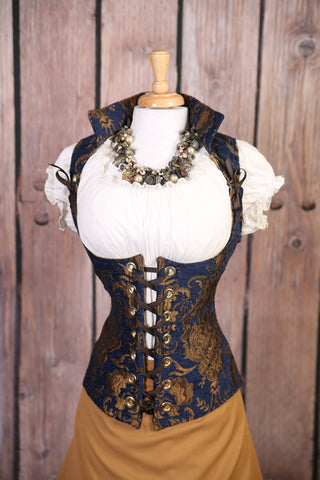 Blue and Gold Medallion Vixen Corset