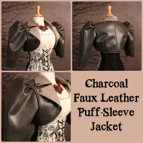 Charcoal Faux Leather Puff-Sleeve Jacket