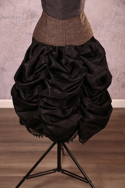 Knee Length Chandelier Bustle with trim Black Pintuck