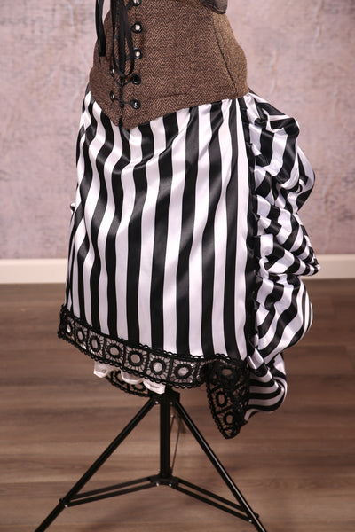 Knee Length Chandelier Bustle with trim Black Pirate Stripe