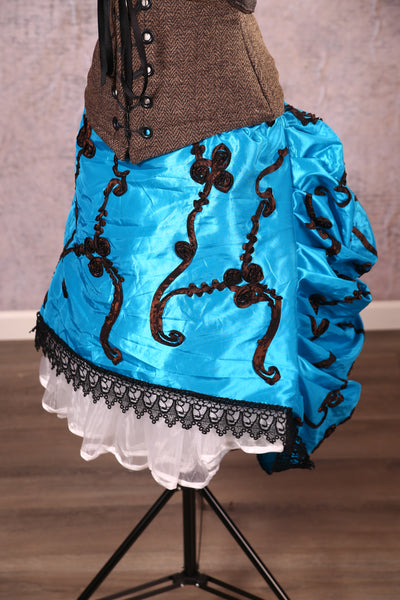 Knee Length Chandelier Bustle with trim Cyan Taffeta with Black/Brown Ribbon