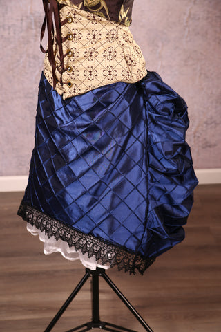 Mini Length Chandelier Bustle with trim Navy Blue Pintuck