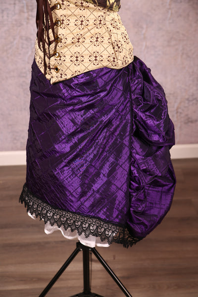 Knee Length Chandelier Bustle with trim Purple Pintuck