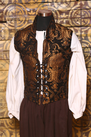 Men's Flynn Vest in Black and Gold Medallion