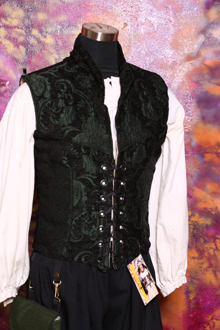 Men's Flynn Vest in Dark Green and Black Medallion