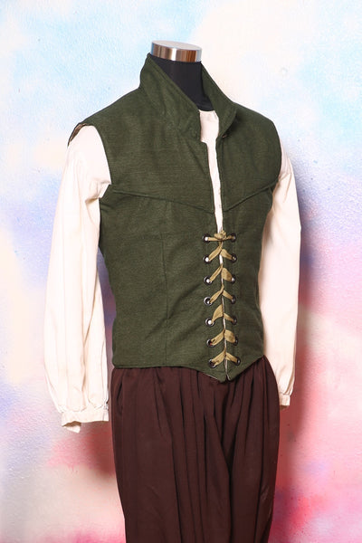 Men's Flynn Vest in Evergreen Solid Chenille