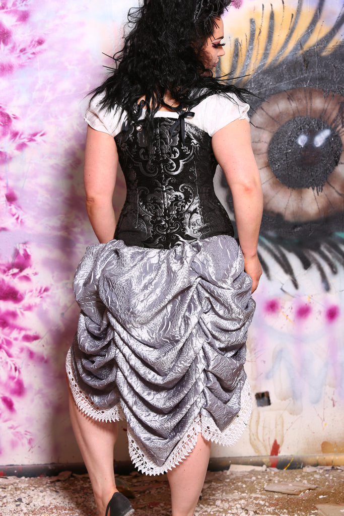 Mini Length Bustle Skirt in Silver Crushed Taffeta