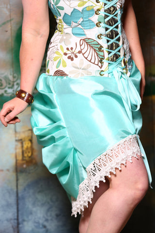 Mini Length Chandelier Bustle Skirt in Electric Teal