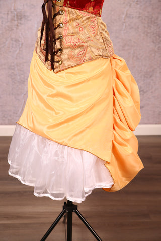 Mini Length Chandelier Bustle in Goldenrod Satin