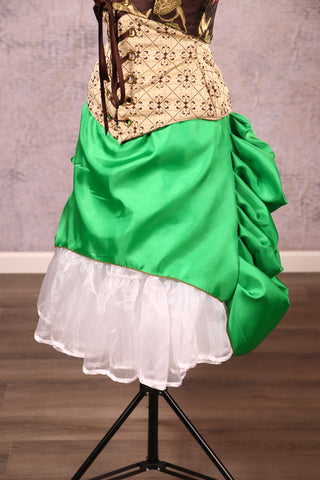 Mini Length Chandelier Bustle in Kelly Green Satin