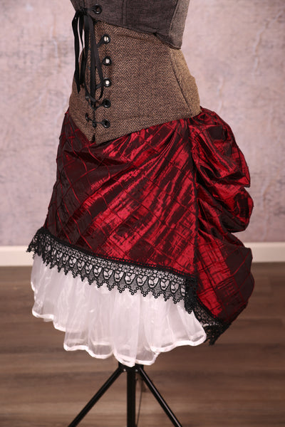 Mini Length Chandelier Bustle with trim Crimson Pintuck