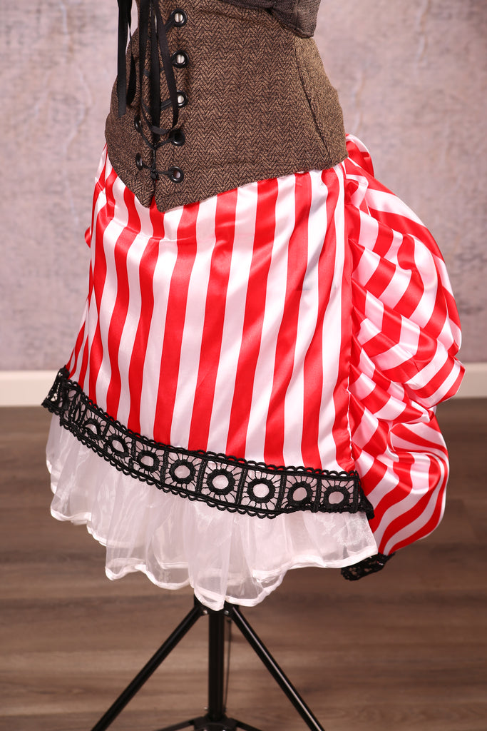 Mini Length Chandelier Bustle with trim Red Pirate Stripe